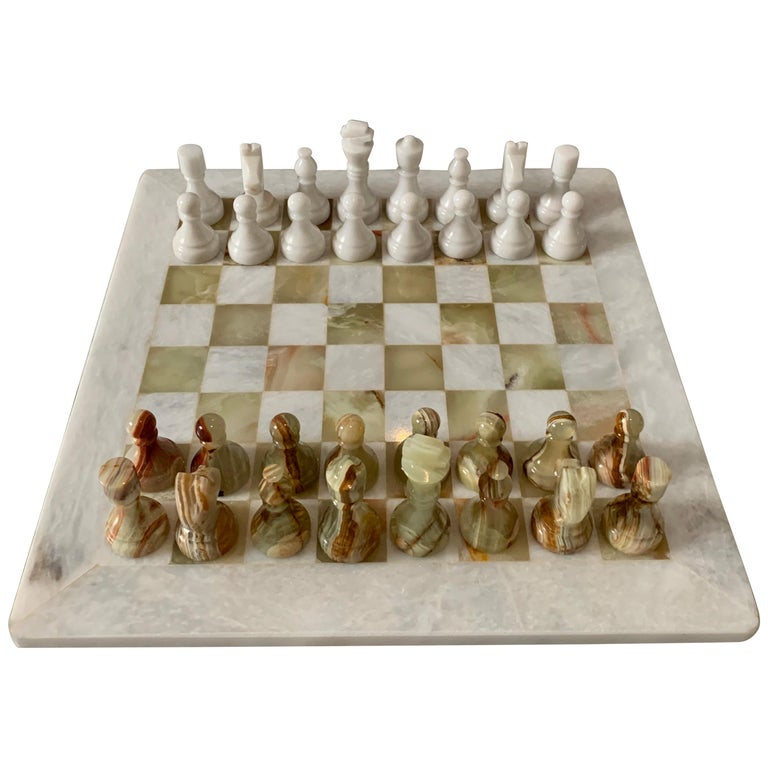 Handmade Onyx and Marble Chess Board and Pieces For Sale