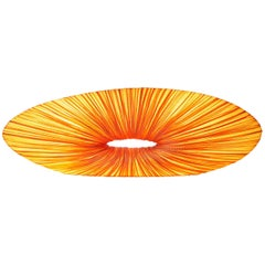 Handmade Orange Pleated Silk Bassito Floor and Table Lamp