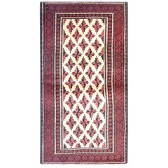 Handmade Oriental Carpet Vintage Cream Red Baluch Rug