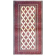 Handmade Oriental Carpet Vintage Cream Red Baluch Rug