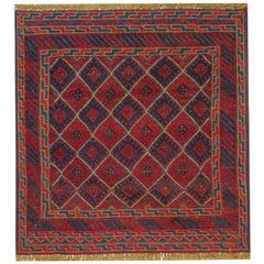 Handmade Carpet Oriental Rug Traditional Deep Red Rugs Square Turkmen Design