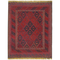 Handmade Carpet Oriental Rug Traditional Deep Red Rugs Square Turkmen Rug