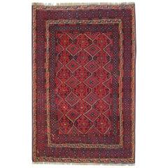Handmade Oriental Rug Traditional Deep Red Rugs Square Turkmen Design Carpet