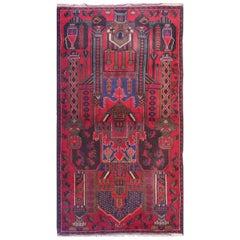 Handmade Oriental Rug Vintage Tribal Carpet