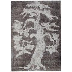Handmade Oriental Turkish Carpets, Vintage Grey Tree, Black and White Area Rug
