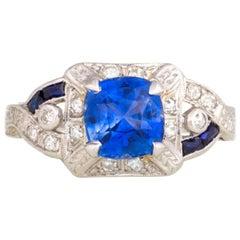 Handmade Original Art Deco 1920s Diamond and Sapphire Ring