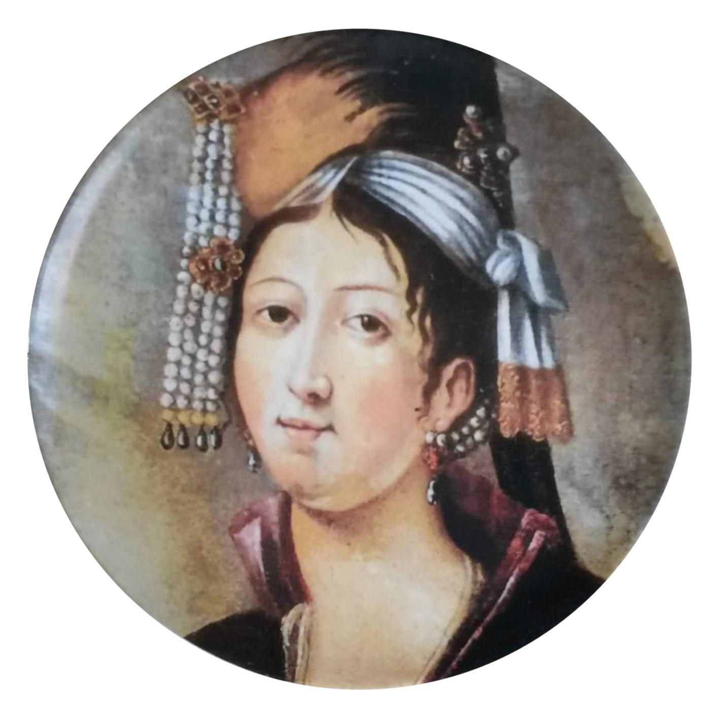 Handmade Ottoman Woman Porcelain Plate