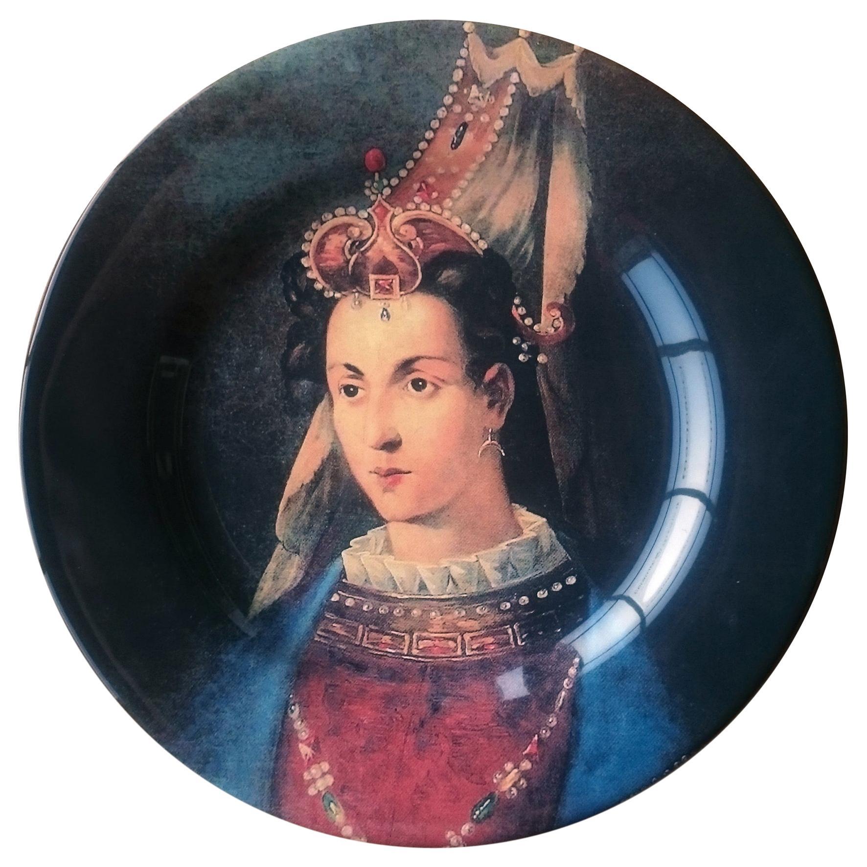 Handmade Ottoman Woman Portrait Ceramic Dinner Plate