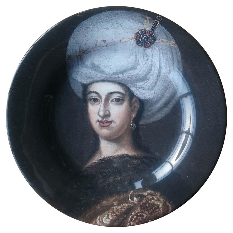Handmade Ottoman Woman Portrait Ceramic Dinner Plate For Sale
