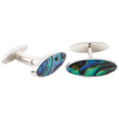 Handmade Oval Abalone Shell Cufflinks UK Hallmarked Silver