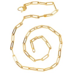 Handmade Paperclip Link Chain Necklace in 14 Karat Yellow Gold