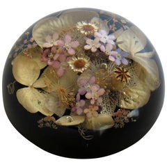 Handmade Paperweight with Real Wild Flowers by Sarah Rogers, English circa 1970s