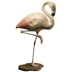 Handmade Papier Maché Flamingo, Original Paint with Nice Age Patina