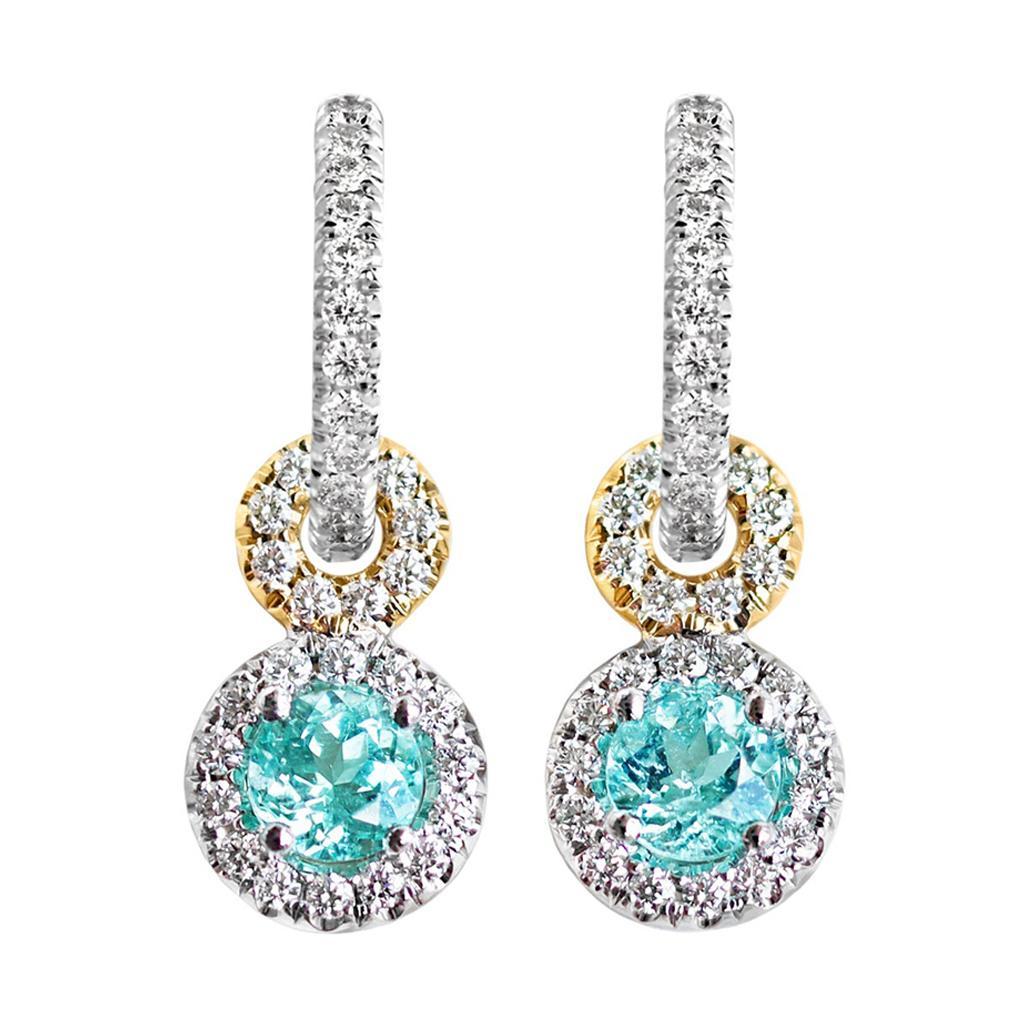 Handmade Paraiba Tourmaline White Diamond Halo Charm Earrings