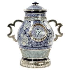 """Handgefertigte Pax Cherubs Vase, Keramik und Weißes Metall """"Alpaka"""" One of a Kind"""