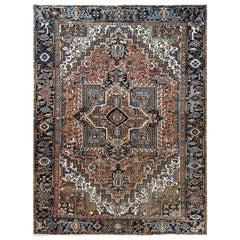 Handmade Persian Heriz Semi Antique Sheared Low Organic Wool Rug