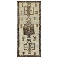 Handmade Persian Qashqai Sheared Low Semi Antique Wool Gallery Size Runner Rug