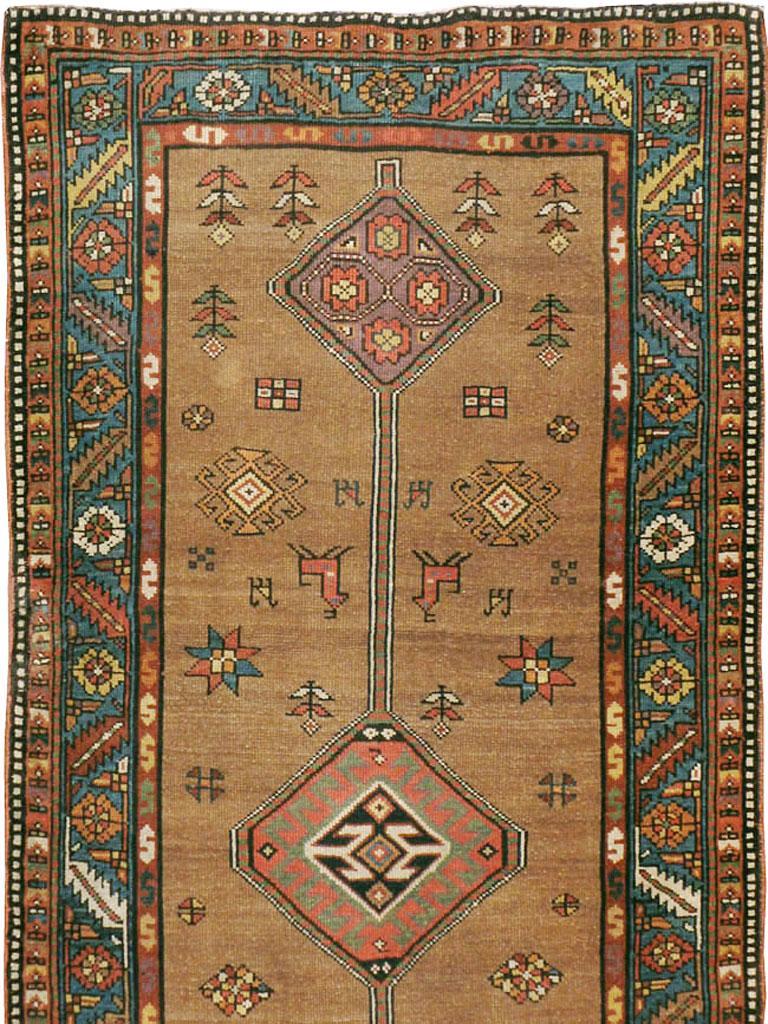 Rustic Handmade Persian Serab Folk Runner in Brown and Blue-Green For Sale