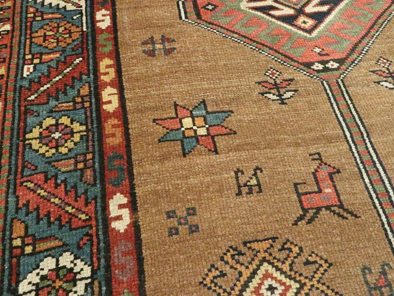 Handmade Persian Serab Folk Runner in Brown and Blue-Green In Good Condition For Sale In New York, NY