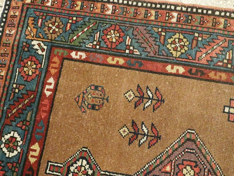 20th Century Handmade Persian Serab Folk Runner in Brown and Blue-Green For Sale