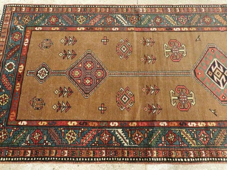 Wool Handmade Persian Serab Folk Runner in Brown and Blue-Green For Sale