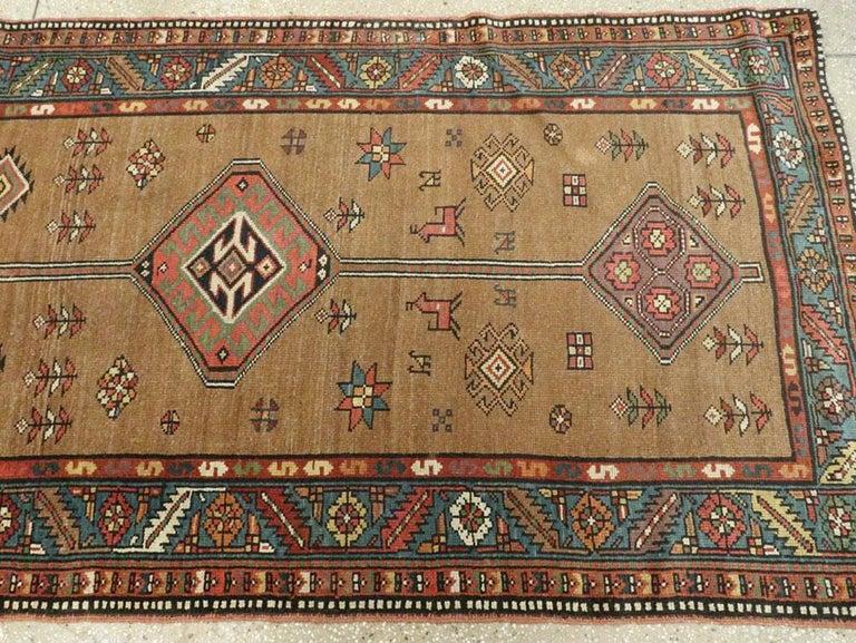 Handmade Persian Serab Folk Runner in Brown and Blue-Green For Sale 1