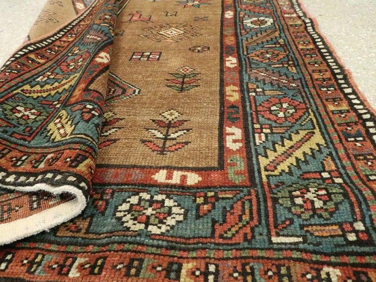 Handmade Persian Serab Folk Runner in Brown and Blue-Green For Sale 2