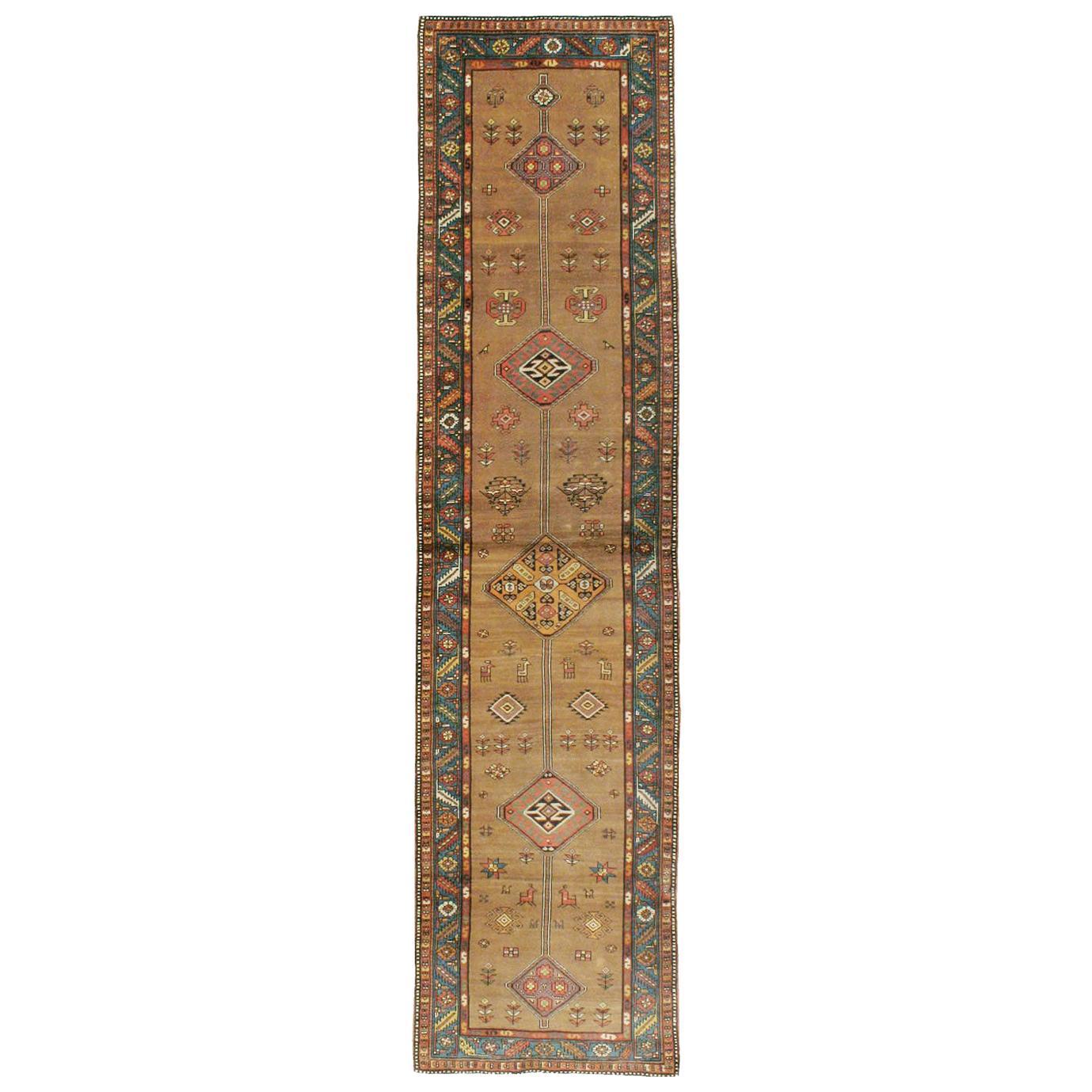 Handmade Persian Serab Folk Runner in Brown and Blue-Green