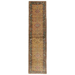 Handmade Persian Serab Folk Runner in Brown and Blue-Green