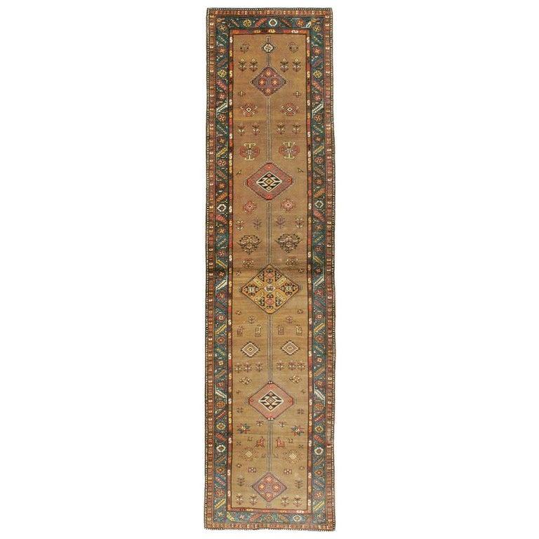Handmade Persian Serab Folk Runner in Brown and Blue-Green For Sale