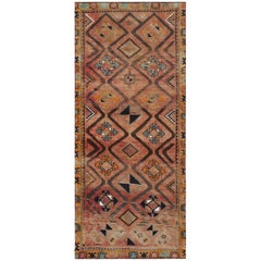 Handmade Persian Shiraz Vintage Geometric Design Wool Gallery Size Runner Rug