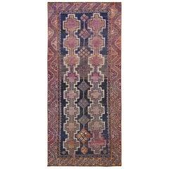 Handmade Persian Shiraz Vintage Worn Down Wool Bohemian Gallery Size Runner Rug
