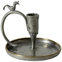 Handmade Pewter Candlestick by Nils Fougstedt
