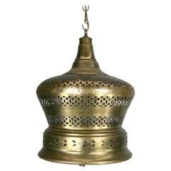 Mid Century  Pierced Brass  Bell Lantern