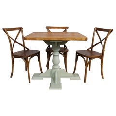 Handmade Pine Pedestal Cafe Table, 20th Century