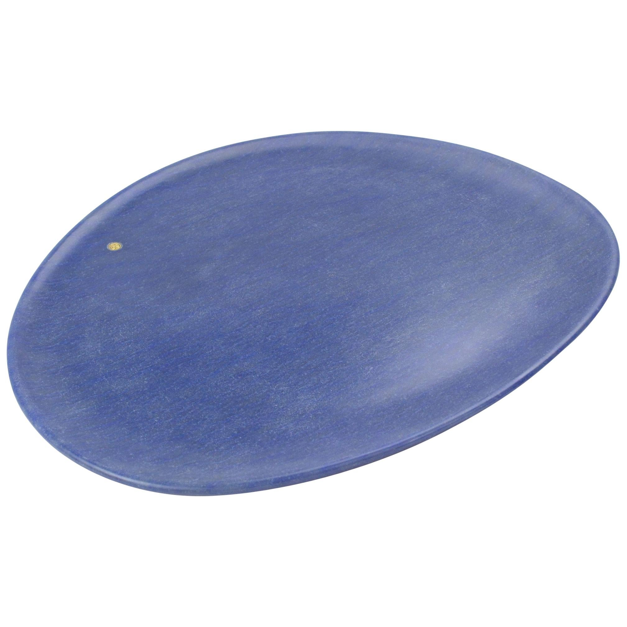 Handmade Plate in Blue Azul Macaubas Contemporary Design by Pieruga Marble Italy