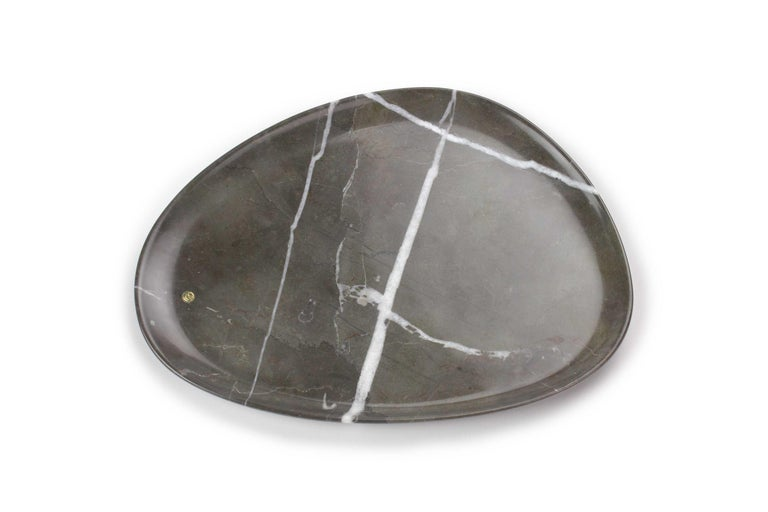 Modern Handmade Plate in Imperial Grey Marble Contemporary Design Pieruga Marble, Italy For Sale