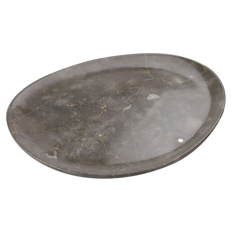 Handmade Plate in Imperial Grey Marble Contemporary Design Pieruga Marble, Italy For Sale