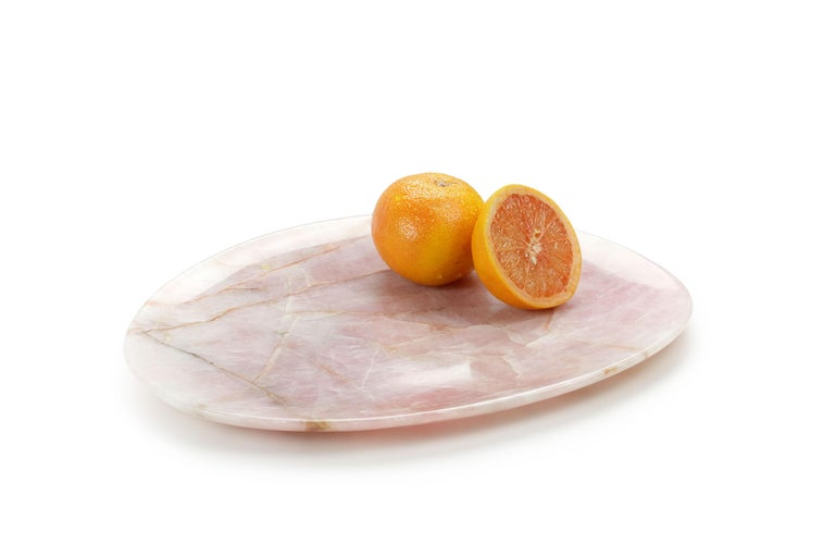 Italian Handmade Plate in Solid Rose Quartz Contemporary Design by Pieruga Marble, Italy For Sale