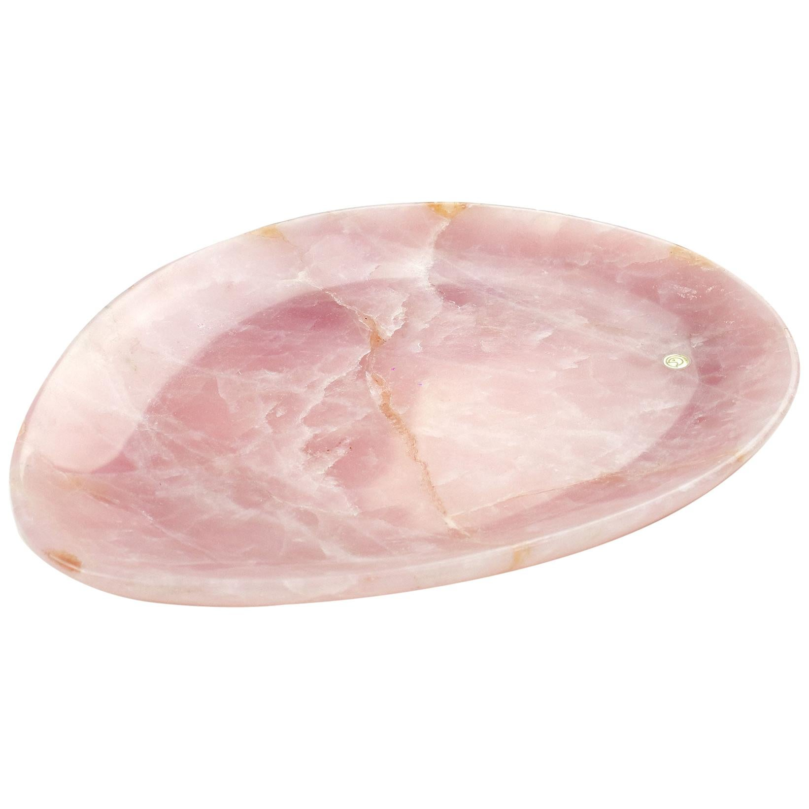 Handmade Plate in Solid Rose Quartz Contemporary Design by Pieruga Marble, Italy