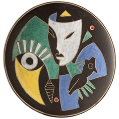 Handmade Plate with Abstract Colorful Shapes Made of Pottery and Ceramics