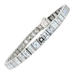 Handmade Platinum 20.00 Carat Vintage Emerald Cut Diamond Tennis Bracelet