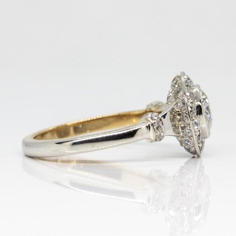 Handmade Platinum and 18 Karat Gold Antique Diamonds Ring 2