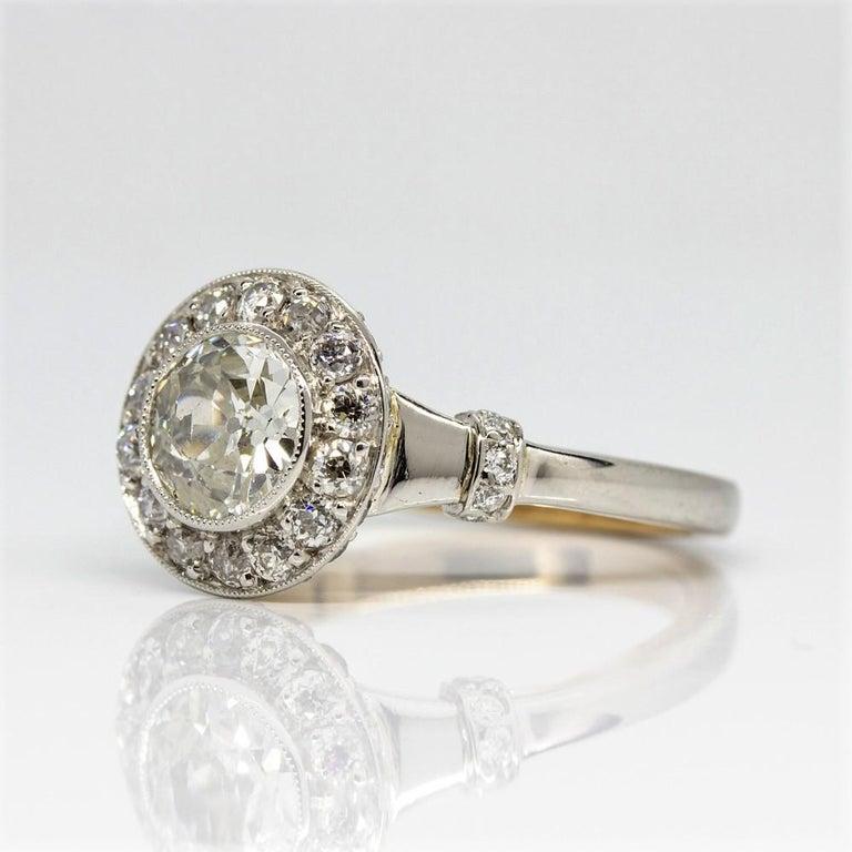 Handmade Platinum and 18 Karat Gold Antique Diamonds Ring 4