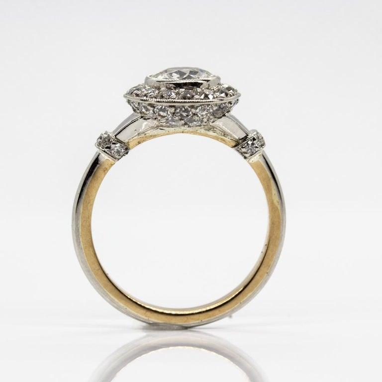Handmade Platinum and 18 Karat Gold Antique Diamonds Ring 5