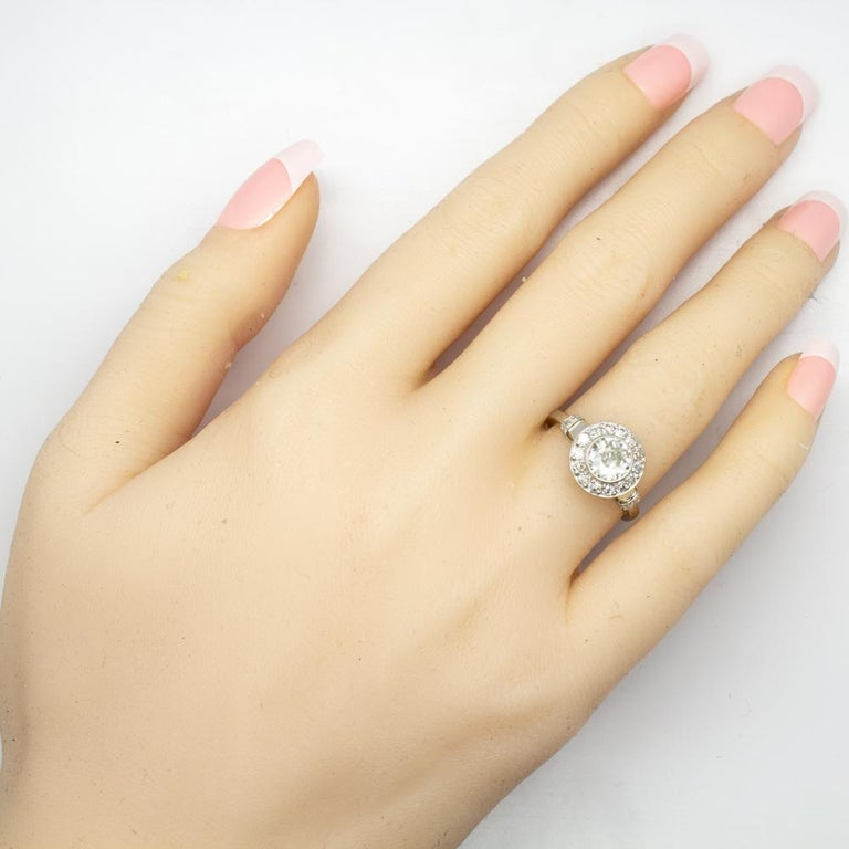 Handmade Platinum and 18 Karat Gold Antique Diamonds Ring 7