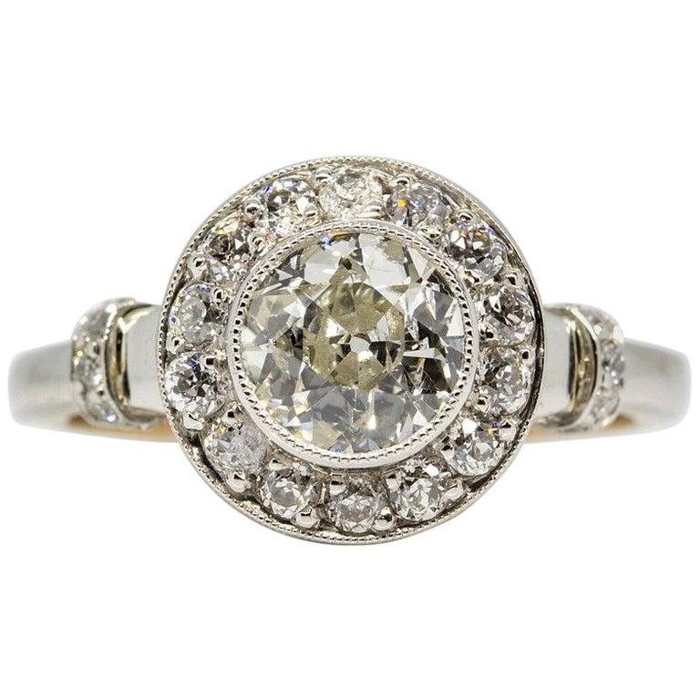 Handmade Platinum and 18 Karat Gold Antique Diamonds Ring 1