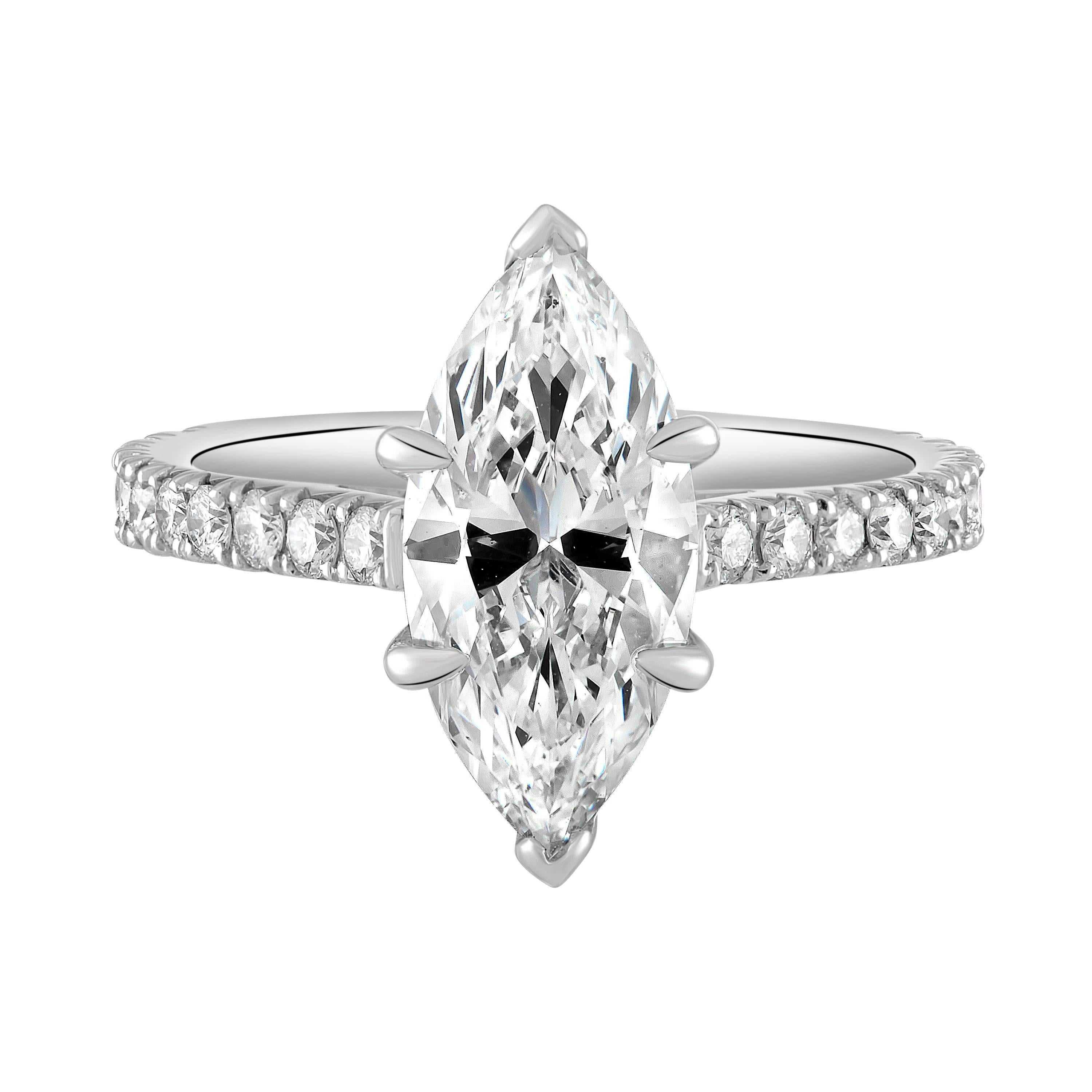 6f2bef7496337 Handmade Platinum and GIA Certified Marquise Diamond Engagement Ring