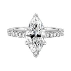 Handmade Platinum and GIA Certified Marquise Diamond Engagement Ring