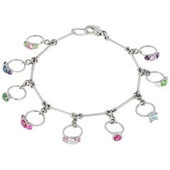 Handmade Platinum Bracelet with Natural Gemstone and Diamond Set Charm Rings